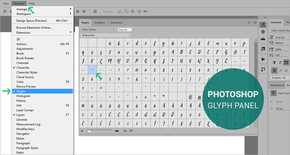 how to open glyphs in photoshop